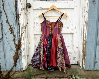 OOAK Bohemian Festival Bustier Tunic Top// Medium// Reconstructed Tank Top Tunic// Altered Clothing// Multi// emmevielle