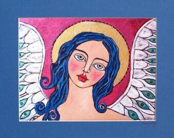 Print of my Original painting of Dreamy Angel  signed matt  Linda Kelly