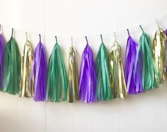 Mardi Gras Tassel Garland - Wedding Decor - Gold Green Purple - Nursery Decor - Photo Prop - Garland