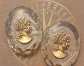 ON SALE Vintage Glass Intaglio Cameos  30x40 mm Gold and Crystal Lady in Profile (choose 1 pc or 2 pc)