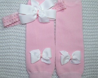 Baby Girl Pink Leg Warmers Headband with White Bows Newborn Baby Shower Gift Coming Home Outfit