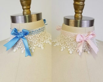 Rococo Lolita Lace Choker Necklace - Victorian Steampunk- Hypoallergenic Pink, Blue or Cream Ribbon-Custom to Order