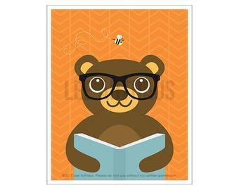 132A Animal Art - Bear Reading Book Wall Art - Woodland Animal Prints - Modern Children Art - Book Lover Gifts - Book Decor - Library Decor