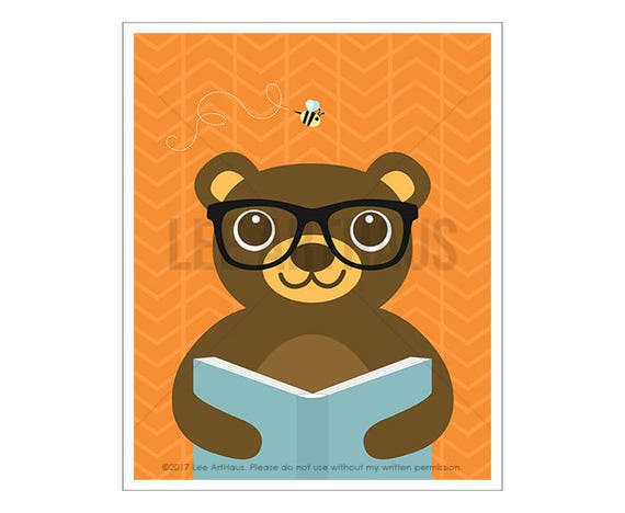 132A Animal Art - Bear Reading Book Wall Art - Woodland Animal Prints - Modern Children Art - Book Lover Gifts - Book Decor - Library Decor