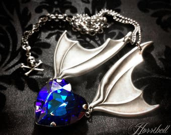 Heliotrope Swarovski Crystal Heart Bat Wing Necklace // Gothic Necklace // Bat Necklace // Crystal Heart Necklace // Wings Necklace