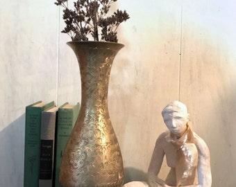 vintage brass vase - etched brass flower vase - boho wedding decor