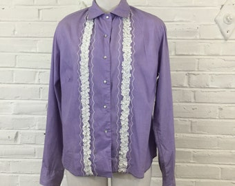 1960s Orchid Purple Western with Embroidery and Lace (as-is), size XL