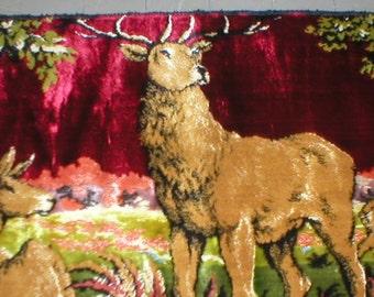 Velvet Tapestry Rug Wall Hanging Big Buck Woodland Scene Man Cave BoHo Gyspy Vintage