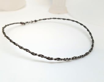 Ultra Discreet Dark Twisted Stainless Steel Neck Circlet with Stainless Clasp