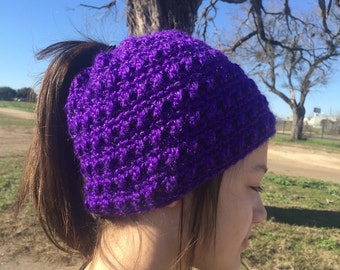 Crochet Ponytail Messy Bun Hat Toddler to Adult Sizes