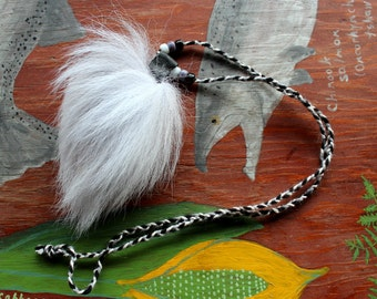 Real Arctic fox tail fur necklace with braided cord and glass beads - simple nature jewelry for costumes, holidays, more