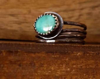 Unique Turquoise Ring, Copper, Fine Silver, Soldered Stackers, Boho Style Relic, Mixed Metal Ring, Bezel Set Stone, Women's Rustic Ring