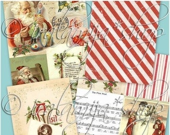 SALE CANDY CANE Backgrounds Collage Digital Images -printable download file-