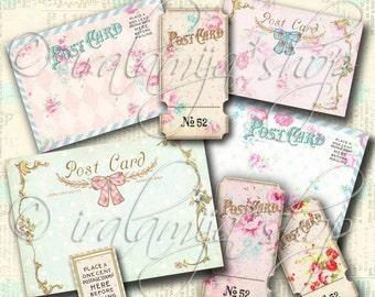 SALE PASTEL POST CArDs Collage Digital Images -printable download file-