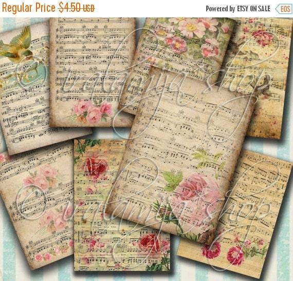 SALE MUSIC NOTES collage Digital Images  -printable download file Digital Collage Sheet Vintage Paper Scrapbook