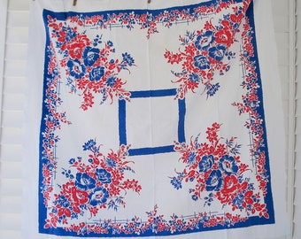 Red white and blue floral tablecloth