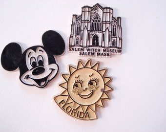 Three souvenir magnets