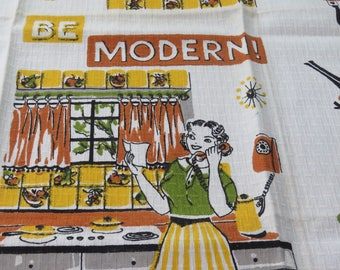 Vintage Towel Mid Century Be Modern Kitchen Tea Towel  Parisian Prints MWOT