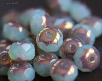 METALLIC GLOW No. 3 .. 10 Picasso Czech Rondelle Glass Beads 6x4mm (B02-10)