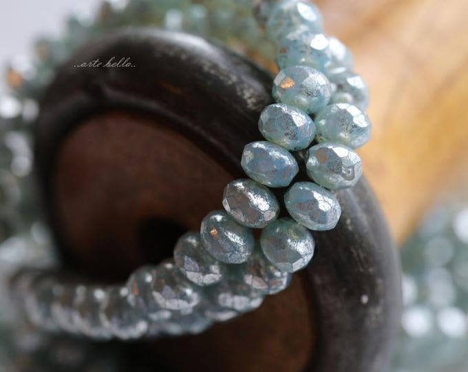 SILVERED AQUA BABIES .. 30 Picasso Czech Rondelle Glass Beads 3x5mm (5699-st)