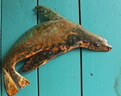 Sea Lion Seal - copper metal marine mammal art sculpture - wall hanging - with verdigris blue green and naturally-aged patinas - OOAK