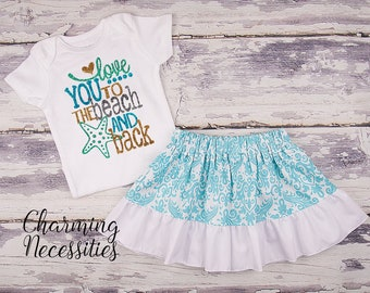 Baby Girl Summer Beach Outfit, Baby Girl Clothes, Toddler Clothes, Glitter Top Ruffled Twirl Skirt, Love You To The Beach and Back Aqua Gold