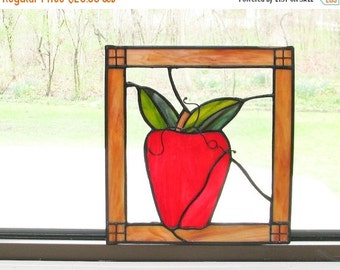 Sale Stained Glass Apple Window Decor