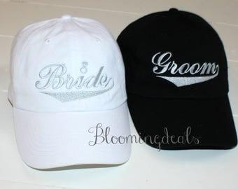 Bride and Groom Baseball Caps Wedding Party Hats Wifey Hubby Caps Mr. Mrs.