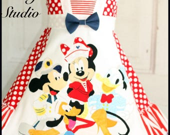Custom Girls Disney Mickey and Pals Cruise Dress  and top Sizes 4 5 6 7 8 9 10 Minnie Mickey Pluto Donald