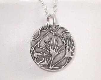 Gingko Leaf Pendant Fine Silver Necklace, PMC Jewelry, Dainty Nekclace, Gifts for Her