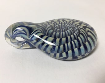 Hand Made Lampwork Glass Pendant - Large Focal Piece with Ample Bale - Blue Spiral Twist - Teardrop Shape