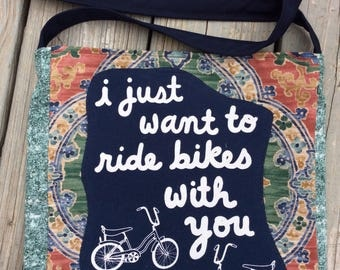 Ride bikes with you tshirt bag