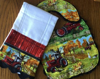 NEW...Tractor Minky Baby/Toddler Bib and Burp Cloth Set