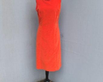 Vintage 1960s/70s Dress, Miss Pat California, Orange Velour Sheath/Shift Dress, Mad Men, Sleeveless Day Dress