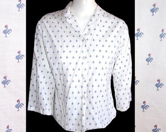 Vintage 50s Mid Century Modern novelty rooster print print blouse shirt L XL