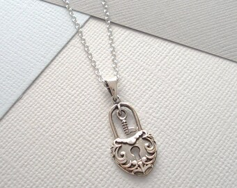 Sterling Silver Heart And Key Padlock Necklace
