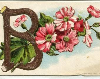 "Embossed Postcard Initial ""B"" with  red & pink flowers, vintage postcard, antique postcard"