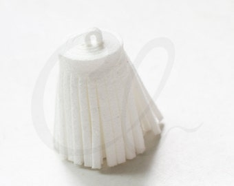 One Piece of Faux Suede - Velvet Cord - Tassels -  28x16mm - White (C8)