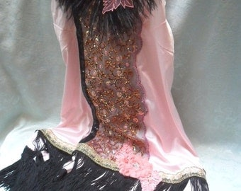 25% OFF Love my customers FLAPPER Gatsby Downton Abbey 1920s Fringe Speakeasy - Vintage Slip Make Over - Rose and Black