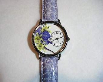 Floral Watch, Women's Watch, Wrist Watch Leather, Queen Anne Lace, Purple Watch, Pressed Flower Watch, Bridesmaid Gift Watch, Quartz Watch