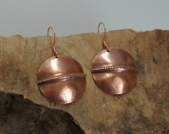 Copper Fold Form Earrings
