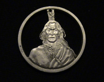 CRAZY HORSE - cut coin pendant - It's a Good Day To Die - First Time Cut - .999 Pure Silver