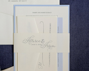 Affordable Classic Coastal Blue Wedding Invitation Suite with Belly Band | Allison & Adam
