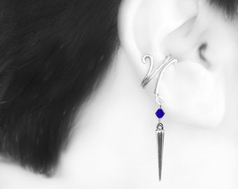 Blue Swarovski Crystal Ear Cuff, No Piercing Earring, Cartilage Earrings, Cobalt Swarovski Crystal, Simple Ear Cuff, Amalthea III v5