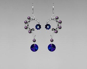 Heliotrope Swarovski Crystal Earrings, Purple Swarovski Pearls, Swarovski Jewelry, WIre Wrapped, Statement Earrings, Capella II v4