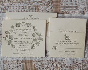 Letterpress Wedding Invitation DEPOSIT, Wedding Invitation, Whimsical Wedding Invitation, Wedding Invitations, Custom Wedding Invitation