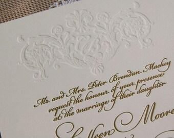 Letterpress Wedding Invitation DEPOSIT, Wedding Invitation, Wedding Invitations, Gold Wedding Invitation, Wedding Invitations, Elegant