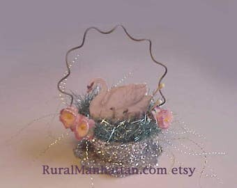 Bird Nest Ornament Swan and Babies Ornie Feather Tree Egg Tree Recycled Upcycled Silver Glitter Tinsel Pink Flowers Easter
