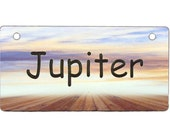 Purple Sunset at the Dock Crate Tag Personalized with Your Dog's Name - Free Shipping