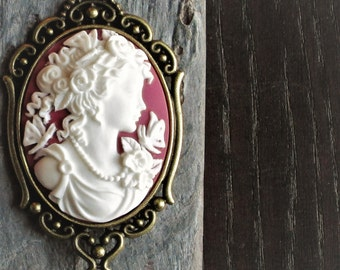 Raspberry pink cameo necklace, white cameo necklace, cameo pendant, long necklace, cameo jewelry, holiday gift ideas, gift ideas for mom